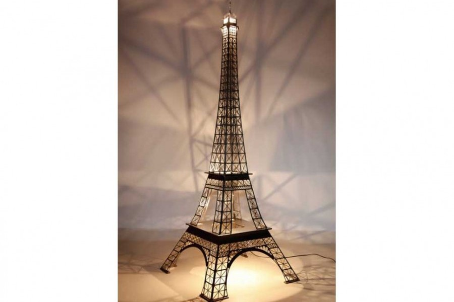 tour eiffel 2 15m luxe acier inox bross clairage led. Black Bedroom Furniture Sets. Home Design Ideas