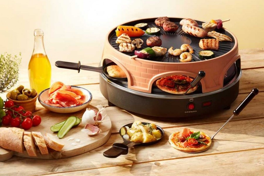 four mini pizza 3 en 1 pizzarette grill raclette. Black Bedroom Furniture Sets. Home Design Ideas