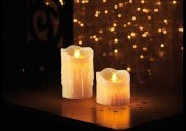 Bougies en cire x2 led illusion flamme vacillante